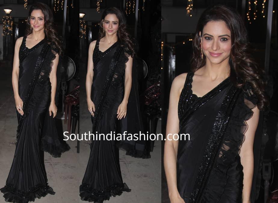 aamna sharif black ruffle saree diwali party