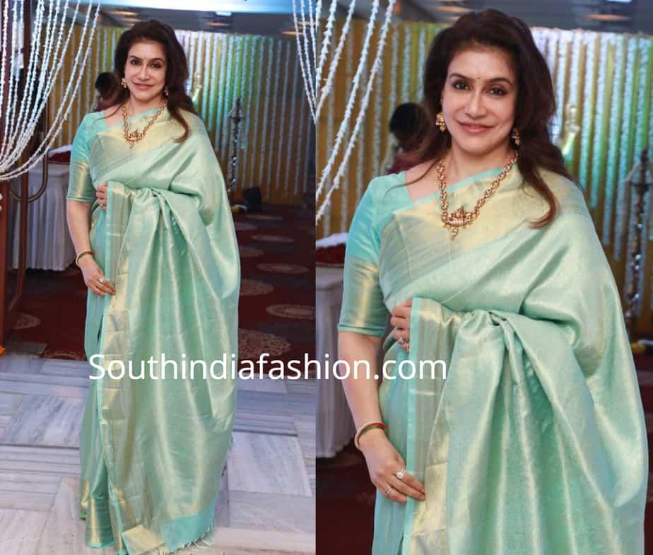 lissy in blue silk saree at suja varunee wedding reception