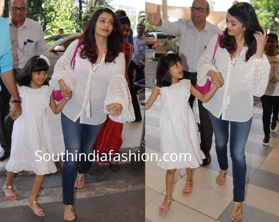 aishwarya aaradhya airport white dresses matching