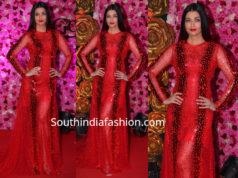 aishwarya rai bachchan red gown at lux golden rose awards 2018