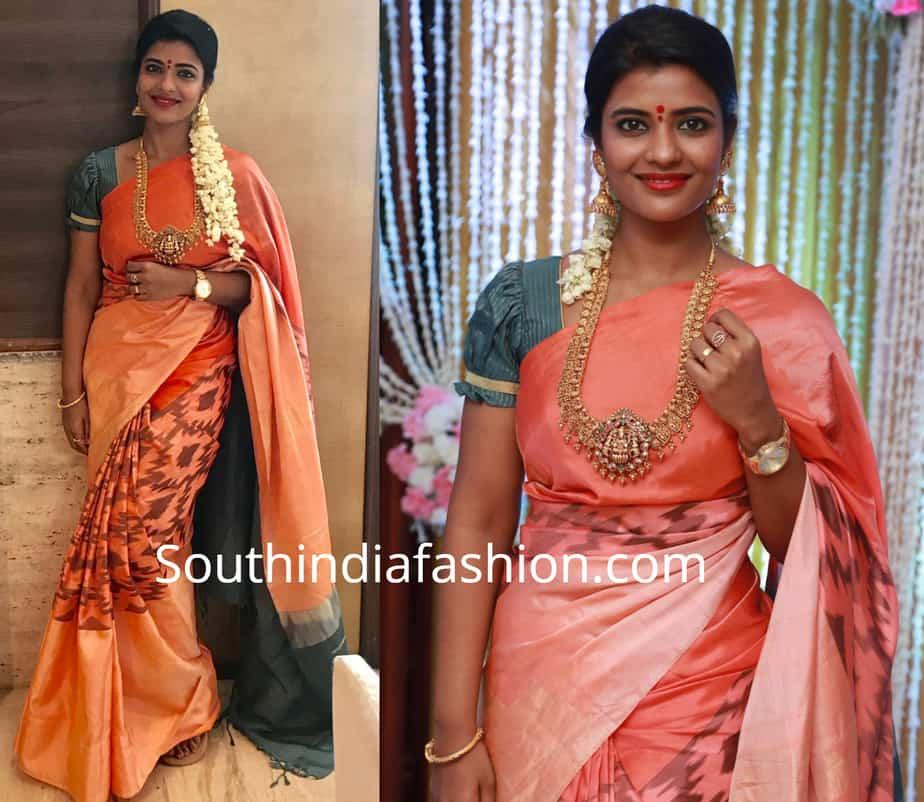 aishwarya rajesh ikat saree at suja varunee wedding reception