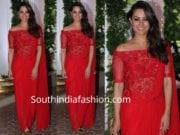 anita hassanandani red saree gown