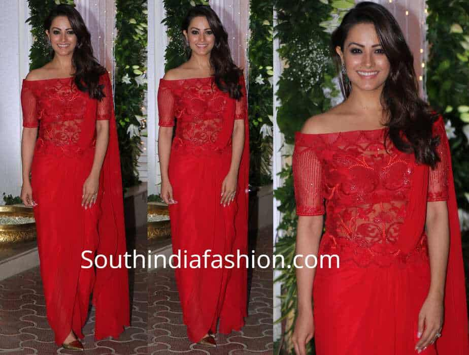 anita hassanandani red saree gown