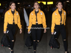 anushka sharma airport yellow jacket