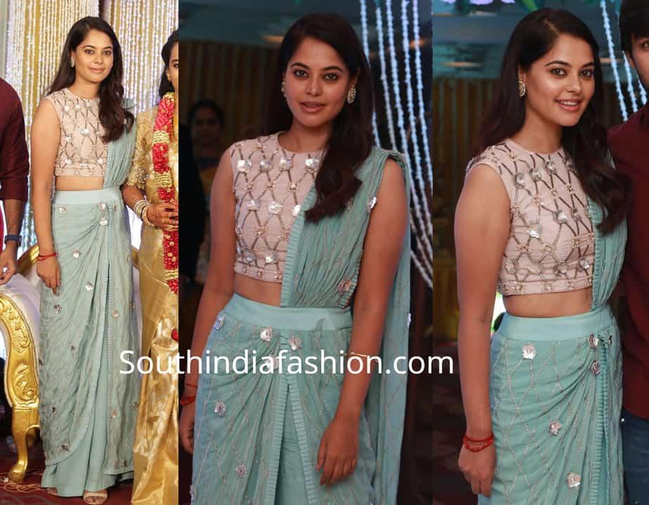 bindu madhavi saree gown at suja varunee wedding reception