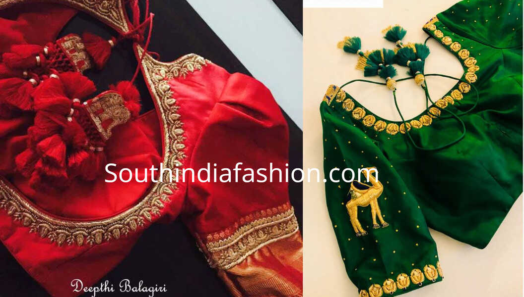 Hand Embroidered Blouse Designs For Traditional Sarees By Deepthi Balagiri South India Fashion
