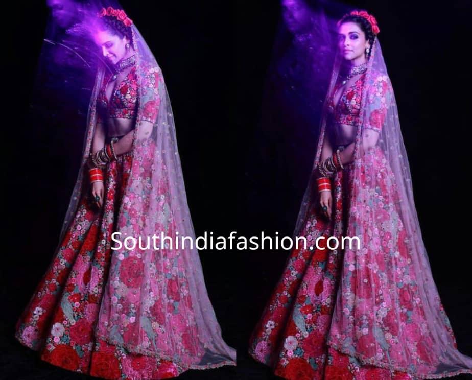 Deepika Padukone in Sabyasachi lehenga at her post-wedding ...
