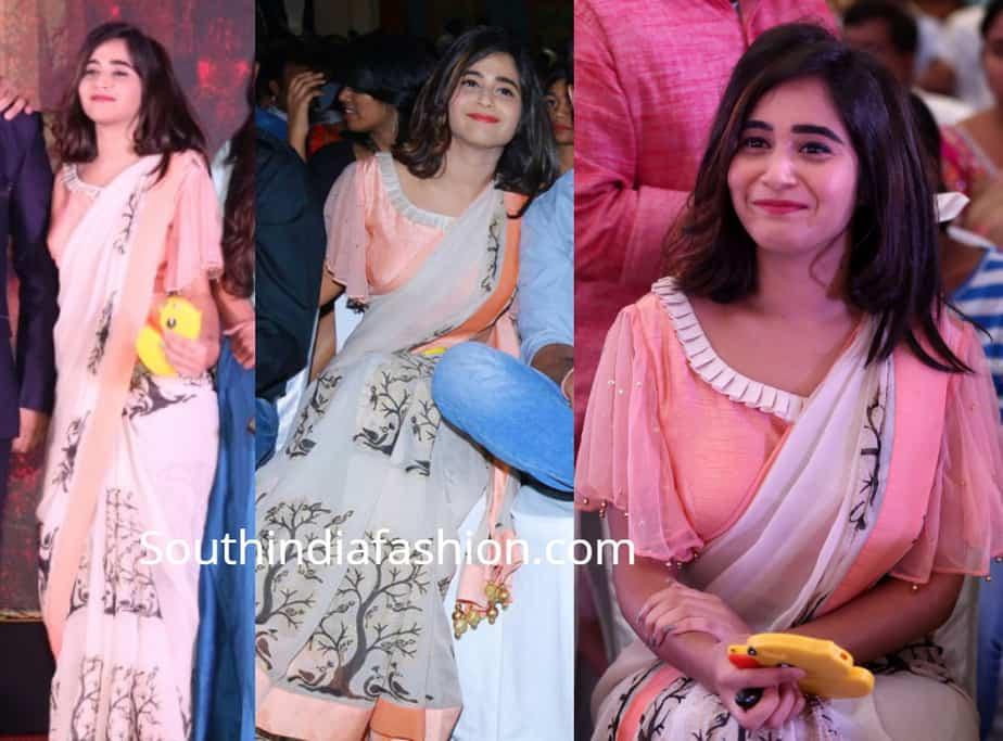 deepthi sunaina saree at rangu pre release event