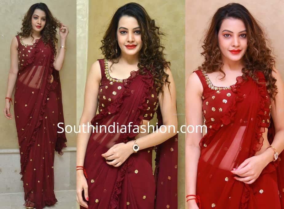 diksha panth maroon ruffle saree