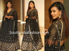 hebah patel in black lehenga by bhargavi kunam
