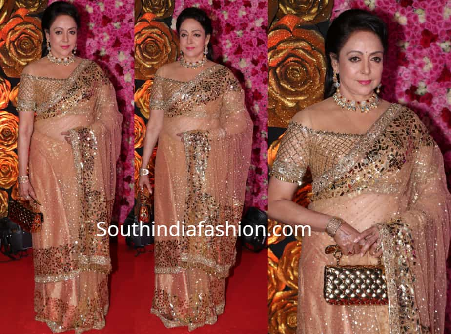 Hema Malini In A Gold Saree – South India Fashion