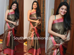 janani iyer saree at suja varunee wedding reception