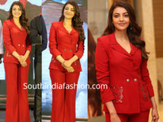 kajal aggarwal red pantsuit for kavacham trailer launch