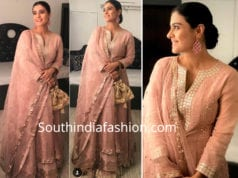 kajol in faabiiana lehenga at shah rukh khan diwali party