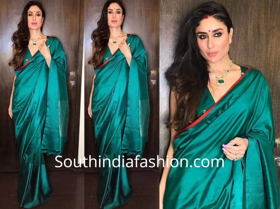 kareena kapoor green raw mango saree diwali party 2018