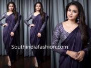 keerthy suresh navy blue saree drape magudam awards 2018