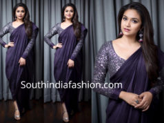 keerthy suresh navy blue saree drape magudam awards 2018