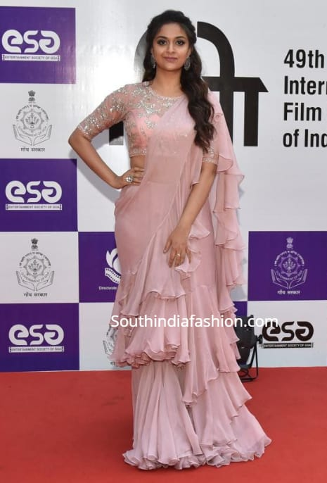 keerthy suresh in anushree reddy ruffle saree at iffi goa