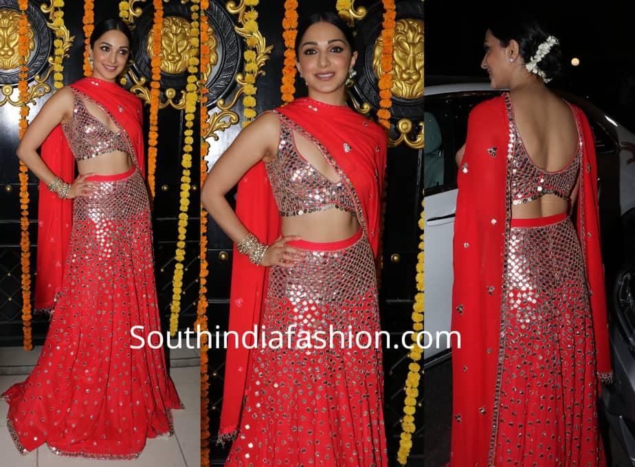 kiara advani red mirror work lehenga at ekta kapoor diwali party