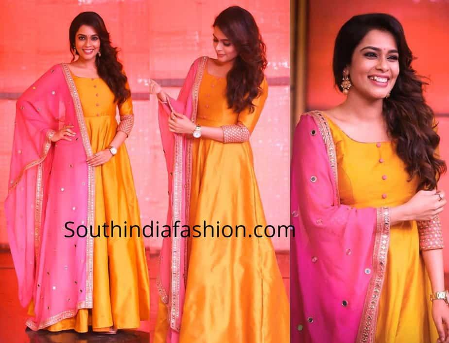 kiki vijay in yellow anarkali by anju shankar