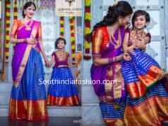 lakshmi manchu and her daughter nirvana in matching pattu lehengas for diwali