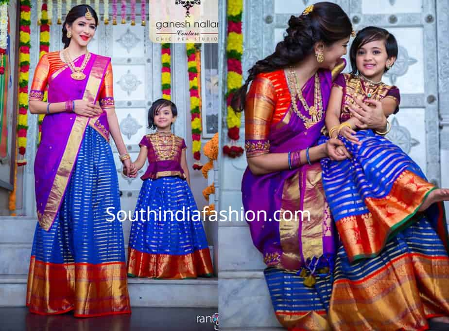 lakshmi manchu and her daughter nirvana in matching pattu lehengas for diwali