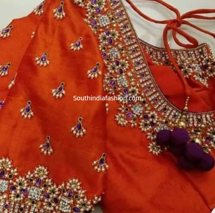 pearl work maggam embroidery blouse designs