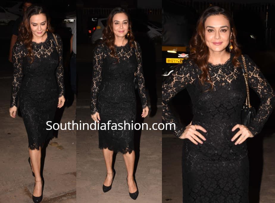 preity zinta black lace dress