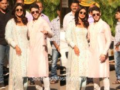 priyanka chopra nick jonas pre wedding puja ceremony manish malhotra outfits