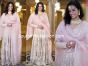 pv sindhu pink anarkali at deepika padukone and ranveer singh wedding reception