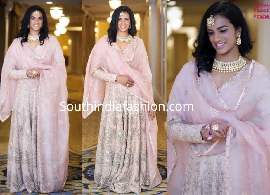 pv sindhu pink anarkali at deepika padukone and ranveer singh wedding reception