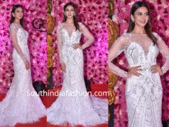 rakul preet singh white gown at lux golden rose awards 2018