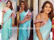ramya subramanian in linen saree at suja varunee wedding reception