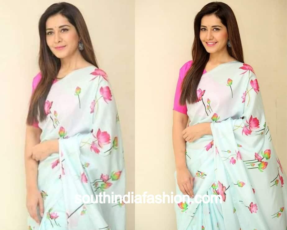 rashi khanna floral saree