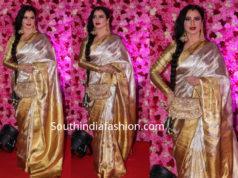rekha gold kanjeevaram saree at lux golden rose awards