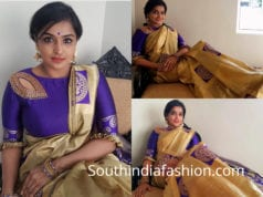 remya nambeesan gold saree purple blouse