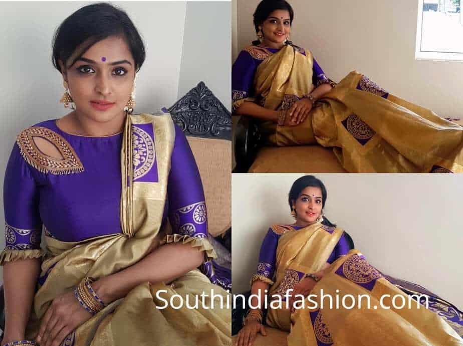 remya nambeesan gold saree purple blouse