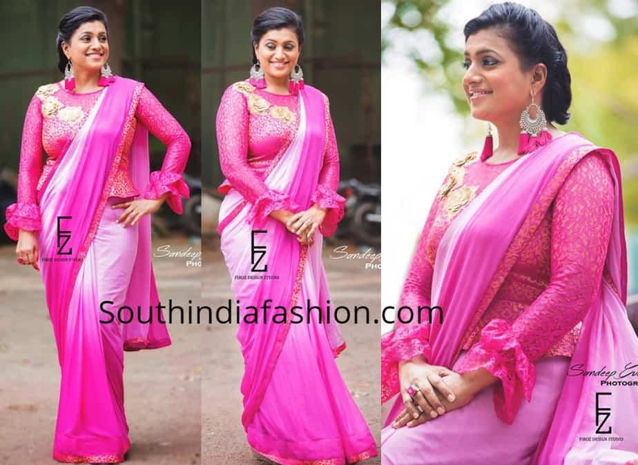 roja pink saree peplum blouse