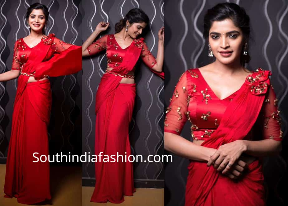 sanchita shetty red saree