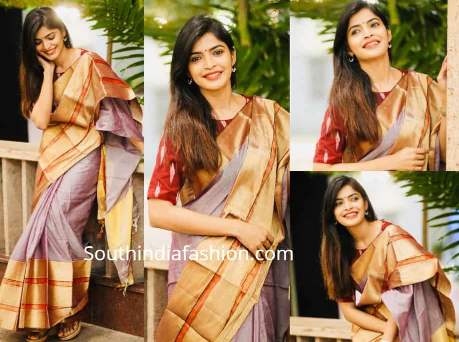 sanchita shetty in silk saree