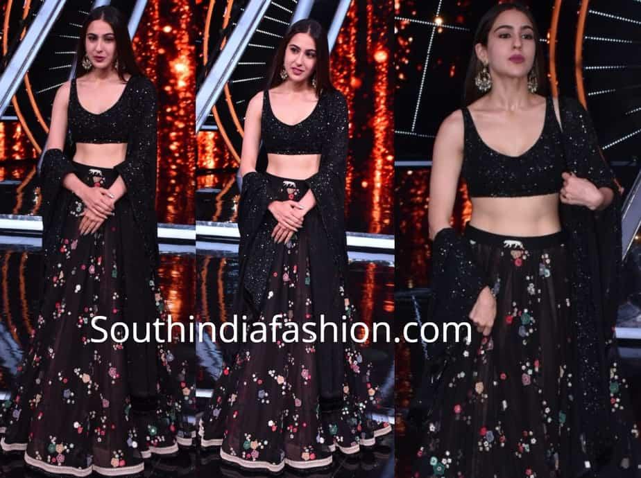 sara ali khan in black sabyasachi lehenga on indian idol