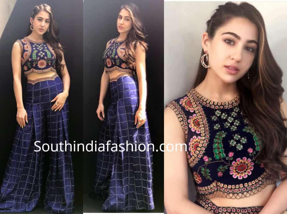 sara ali khan blue dress kedarnath promotions