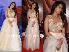 sara ali khan in white lehenga at kedarinath trailer launch