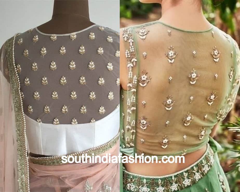 sheer back with motifs