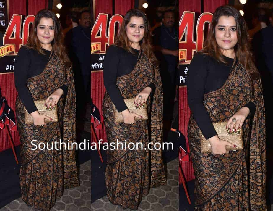 shikha talsania saree with full sleeves blouse