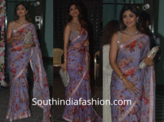 shilpa shetty in anushree reddy floral saree for diwali party 2018