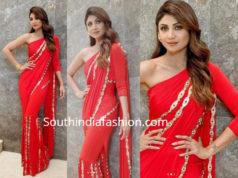 shilpa shetty red fusion saree