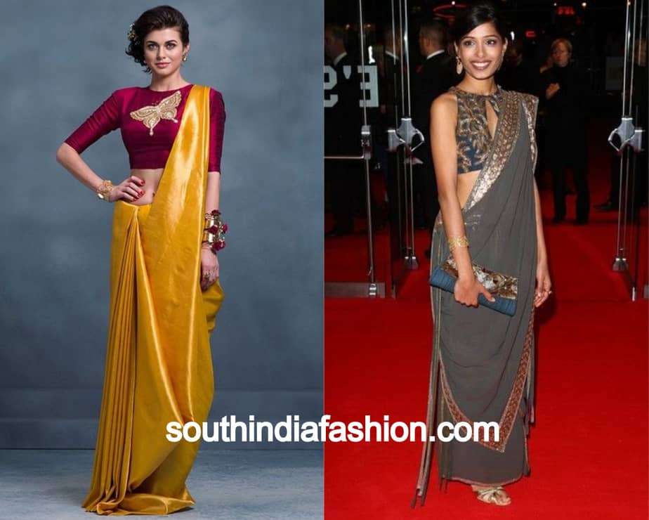 side pleats and extreme left pallu