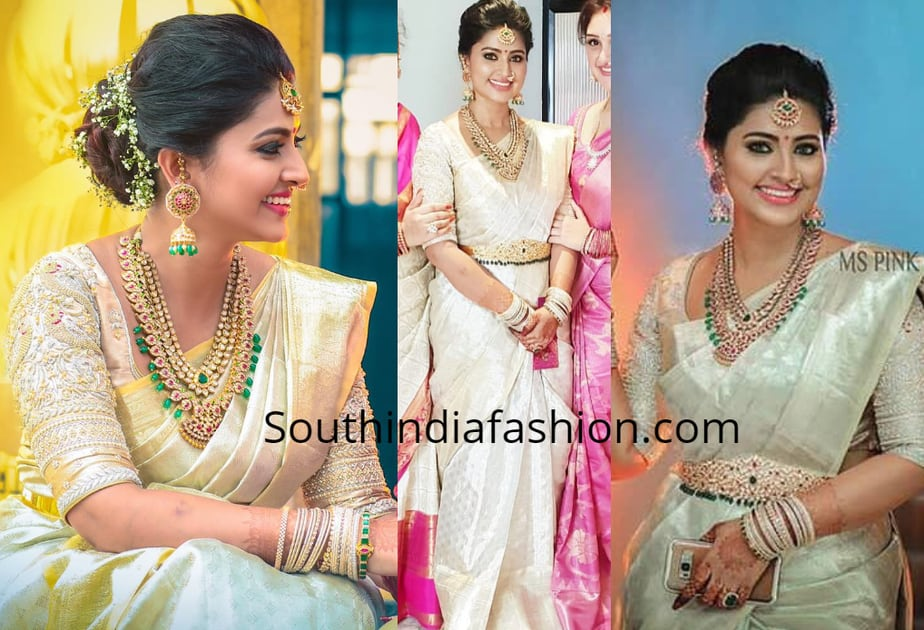 sneha prasanna white pattu saree house warming function