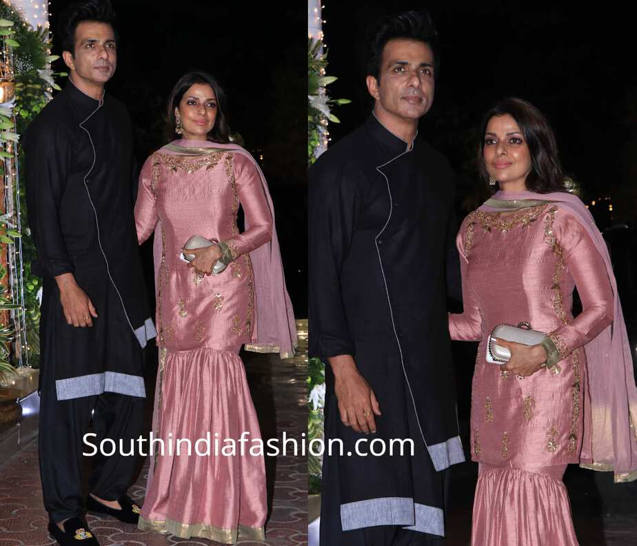 sonu sood with his wofe at shilkpa shetty diwali party